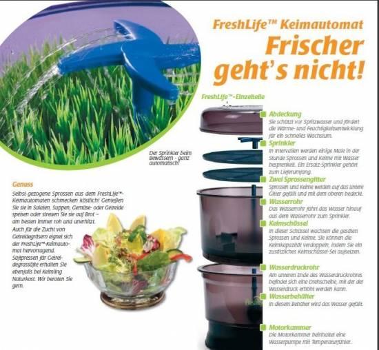 fresh life xl sprossen keimger t f r weizengras saft ebay. Black Bedroom Furniture Sets. Home Design Ideas